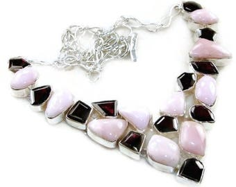Pink Peruvian Opal and Red Garnet Sterling Silver Necklace