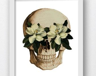 Skeleton Skull Magnolia Flowers, Skull Prints, Skull Pop Art Print, Skull Print, Digital Download Prints, Anatomy Prints, Anatomy Anatomical