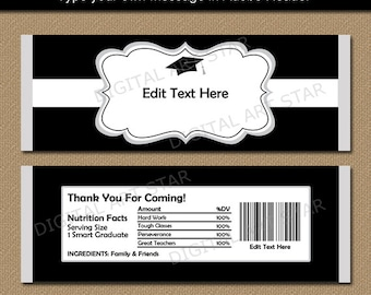 Graduation Candy Wrapper Printable - Graduation Party Favors Black and White - EDITABLE Candy Bar Wrappers - College Graduation Favors G1