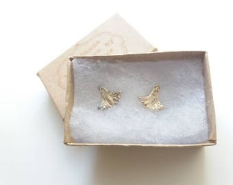 Lotus flower fine silver studs with sterling silver findings