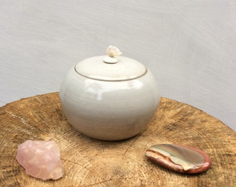Large Ceramic Oil Lamp - Decorative Candle Light - White over dark speckled clay - Ready to Ship