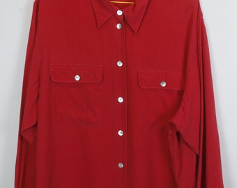 Vintage silk shirt, 90s clothing, red, shirt 90s, long sleeves, oversized