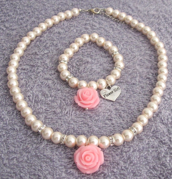 Flower Girl Jewelry,Pink Rose Flower Necklace,Rose Flower Bracelet, Blush Pink Jewelry,Flower Girl Jewelry Set, Pink Rose, Free Shipping USA