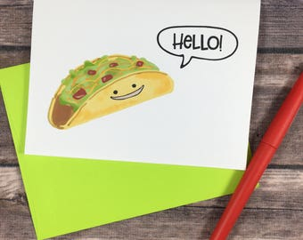 digital taco card - hello card - diy card - printable card - foodie card - friend card - just because card - thank you card  thinking of you