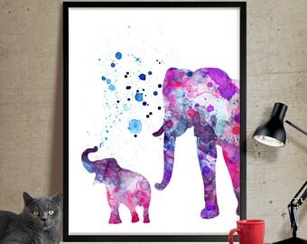 Elephant Print, Elephant Watercolor Wall Art, Elephant Painting, Illustration Elephant Poster Wall Decor (115)