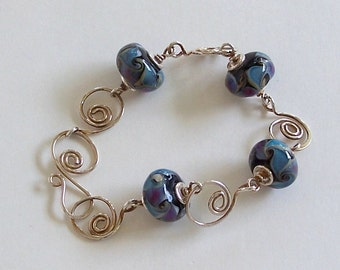 Blue Lampwork Beads with Sterling SIlver Spiral Links Bracelet by Carol Wilson of Je t'adorn Small Wrist