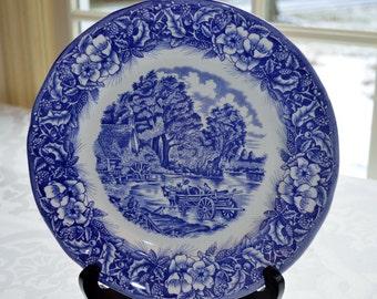 Quadrifoglio Ceramica Made in Italy Blue and White Farm Scene New Sale Price