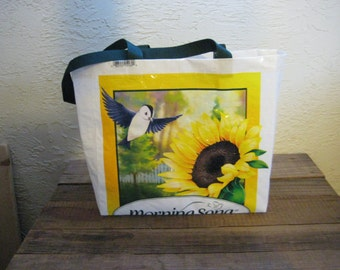 Medium Bird Food Tote Bag Market Purse - Recycled Upcycled Reusable
