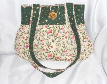Green shoulder bag, handmade handbag, fabric handbag, womens fabric tote, gathered fabric bag, medium size bag, inside zip pocket