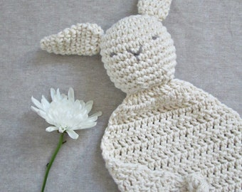 Bunny Lovey Baby Toy, Crocheted, Organic Cotton ∙ Security Blanket ∙ Baby Shower Gift ∙ Cotton Lovey ∙ Organic Lovey ∙ Neutral Baby Gift