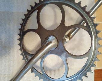 OEM Schwinn bike 24 inch Crank Sprocket 46 tooth 1960's vintage undated W/bearings and mounting hardware