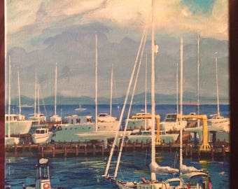 11x14 original acrylic painting of harbor