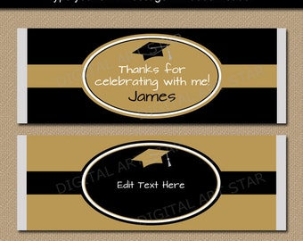 Black and Gold Graduation Candy Wrappers INSTANT DOWNLOAD - Printable Candy Label Template - Graduation Favors - College Graduation Ideas G5