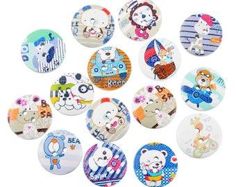 8 buttons round 20 mm kids wood animals theme