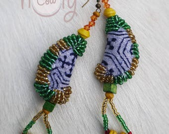 Handmade Green & Blue Tribal Boho Chic Hippie Earrings, Tribal Earrings, Hippie Earrings, Boho Earrings, Colorful Earrings, Gypsy Earrings