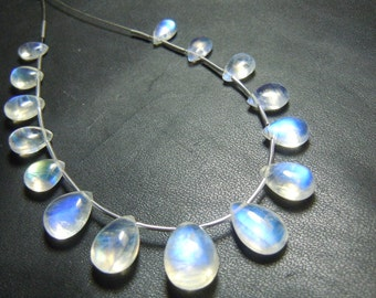 Rainbow Moonstone Gemstone Smooth Briolette Blue Fire 6x9MM To 9x15MM  15Pc Top Quality Clean Wholesale Price