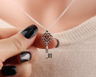 Antique Key Necklace, Vintage Jewelry, Vintage Key Necklace, Bridesmaid Gifts, Bridesmaid Necklace