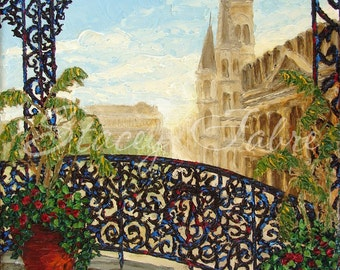 Jackson Square Balcony - matted to fit 18x24 frame - PRINT