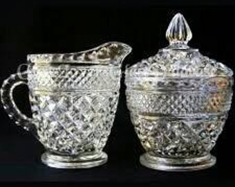 Wexford Clear Glass Creamer & Lidded Sugar Bowl by Anchor Hocking,Clear Pressed Crystal,Criss-Cross Pattern Glass,Replacement Wexford