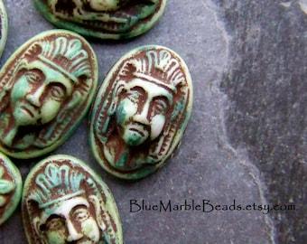 Egyptian Cameo, Pharaoh, Vintage Cabochon, Distressed, Etched Cabochon, Carved Cabochon, Face Cabochon, Oval Cabochon, Flat Back, 16 x 11, 6