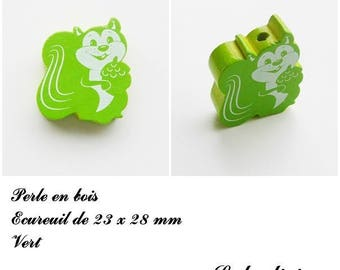 23 x 28 mm wood bead, Pearl flat squirrel: Green