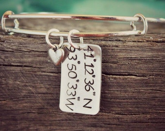 Wedding | Personalized Silver Bangle, Longitude and Latitude Bracelet, Coordinates Bracelet, Adjustable Bracelet, Personalized Bangle