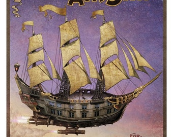 Steampunk Vintage Ad Series -  The Great Western Airship -   8 x 10 Art Print by Brian Giberson