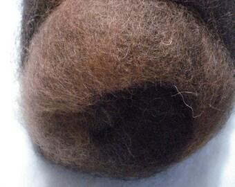 Natural Medium Brown and Black Blended Alpaca Batt - 5+ ounces