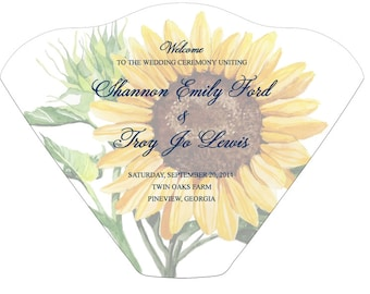 SET OF 25+ Sunflower Design Wedding Program Fan custom colors available