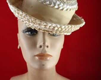 Vintage Ladies' Tan Straw Hat with Nylon Band