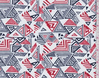 White/Navy/Orange Triangle Print Swimwear, Fabric By The Yard