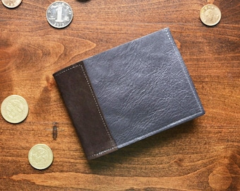 Leather Coin Wallet for Men, Bifold Coin Pocket Wallet, Minimalist Slim Wallet for Guys, Mens Gift - The Frankie Coin Wallet in Dark Slate