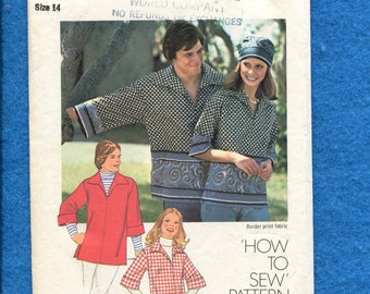1970's Simplicity 7121 Yachting Shirt with Large Pointed Collar Size 14