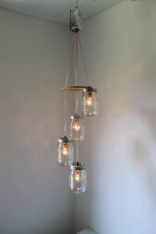 Spiral mason jar chandelier rustic hanging mason jar pendant zoom arubaitofo Gallery