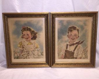 "1940's Anne Allaben ""Jack and Jill"" prints"