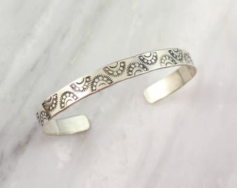 Sun Ray Stamped Sterling Silver Cuff Bracelet