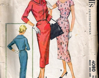 Vintage 1957 McCall's 4080 Slim Dress & Jacket Sewing Pattern Size 14 Bust 34""