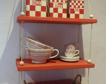 Hanging wooden shelf