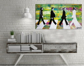 THE BEATLES Painting,Original Colorful,Pop Art Painting,Music Painting,Black White Painting,Fine Art Signed,Ready to Hang,Abstract Painting
