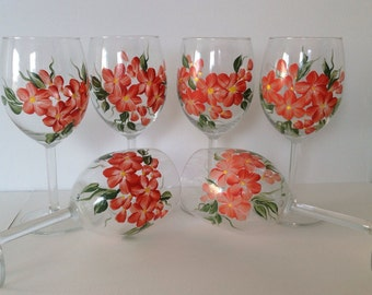 Sale - Wedding, Brides maid, anniversary Wine Glasses Peach Flowers