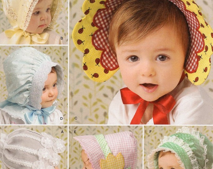 Simplicity 2908 Sewing Pattern Free Us Ship Girls Baby Babies Toddler Bonnets Hats Brim Flower New Uncut Out of Print