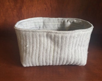 Gray Quilted Nesting Basket - SMALL