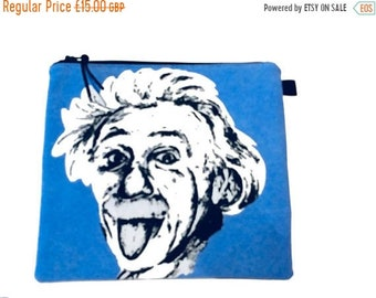 SALE 20% OFF Albert Einstein Multi Purpose Pouch, Small Craft Project Bag,  Makeup Bag, Gadget Bag, Pencil Case, Handmade in the UK