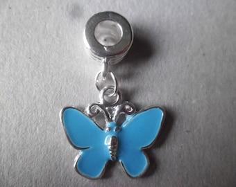 """x 1 """"Butterfly"""" blue enamel on bail silver 30 x 19 mm"""