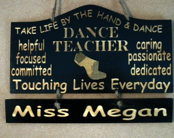 FOR DANA Personalized Wooden Dance Jazz Teacher Wall Hanging