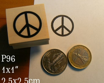 P96 Peace sign rubber stamp