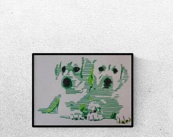 Geschenk für Hundefans - Pop Art Illustration Labrador - Labrador  Zeichnung - Zeichnung - Pop Art Illustration - Labrador Portrait