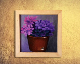 Succulent art, Original painting, Still life artwork, Pink cactus art, Nature art, Succulent Wall Art, Colorful flowers, Square painting