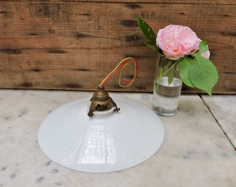 Vintage Opaline Glass Pendant Lampshade, French Milk Glass Ceiling Light Shade, Art Deco Period Shade