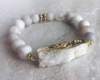 Druzy, Natural White Agate, Stretch bracelet, beaded bracelet, armcandy, bracelets